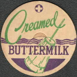 #DC237  - Creamed Buttermilk Bottle Cap Picturing a Colorful Butter Churn