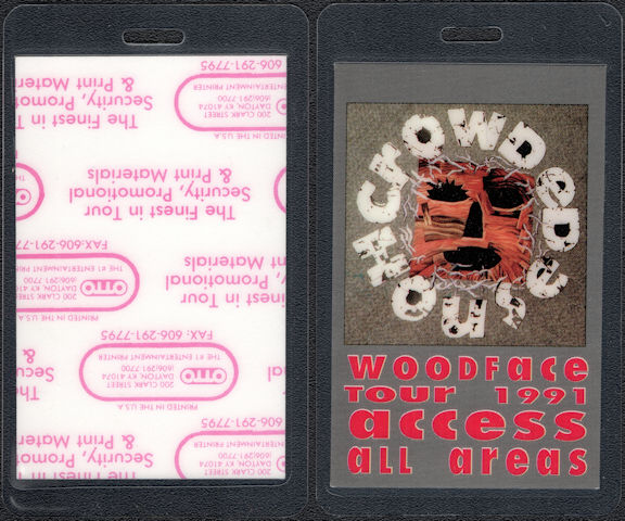 "##MUSICBP0609 - 1991 Crowded House Laminated OTTO Backstage Pass from the ""Woodface"" Tour"