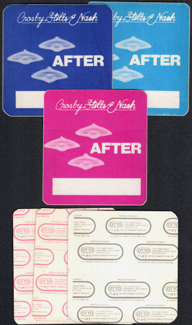 ##MUSICBP0476  - Group of Three Different Colored 1982 Crosby, Stills and Nash OTTO Cloth After Show Backstage Passes from the Daylight Again Tour
