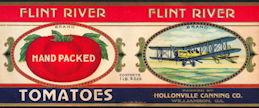 #ZLCA240 - Rare Flint River Tomatoes Can Label from the WWI era - Pictures a De Havilland Biplane