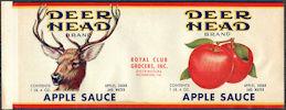 #ZLCA300 - Rare Deer Head Apple Sauce Can Label - Richmond, Virginia