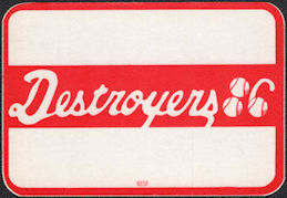 ##MUSICBP0559  - 1986 Destroyers (George Thorogood) Cloth OTTO Backstage Pass