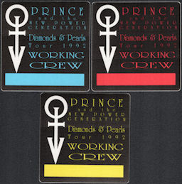 ##MUSICBP0844 - Group of 3 Different Colored Prince and the New Power Generation OTTO Cloth Working Crew Backstage Passes from the 1992 Diamonds & Pearls Tour