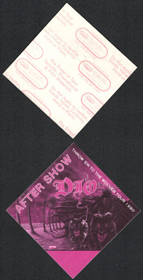 ##MUSICBP0552 - Dio OTTO Cloth After Show Backstage Pass from the 1990 Throw 'em to the Wolves Tour