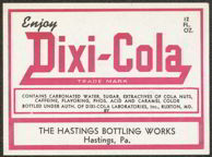#ZLS106 - Dixi-Cola Soda Bottle Label