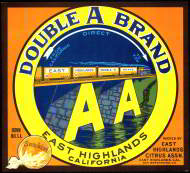 #ZLC147 - Double A Brand Sunkist Orange Crate Label - Train