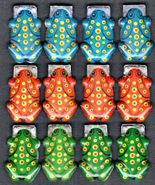 #TY046 - Group of 12 Tin Frog Clickers - Japan