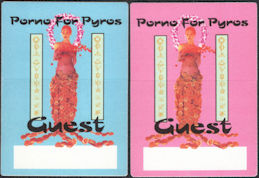 ##MUSICBP0703 - Pair of Different Colored Porno for Pyros OTTO Cloth Backstage Passes from the 1996 Good God's Urge Tour