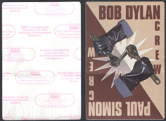##MUSICBP0765 - Bob Dylan/Paul Simon OTTO Cloth Backstage Crew Pass from the Never Ending Tour