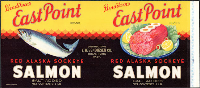 #ZLCA309 - East Point Red Alaska Sockeye Salmon Can Label - Ocean Park, WA