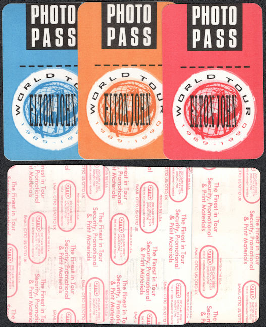 ##MUSICBP0352  - Group of 3 Different Colored Elton John Photo Cloth OTTO Backstage Passes from the 1989-90 Sleeping with the Past Tour