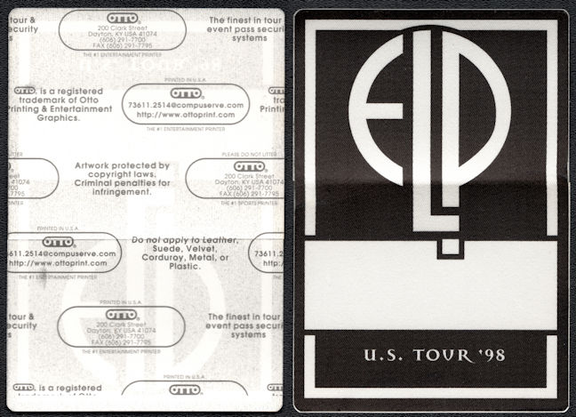 ##MUSICBP0129 - Emerson Lake and Palmer (ELP) OTTO Cloth Backstage Pass from the 1998 the Then and Now Tour