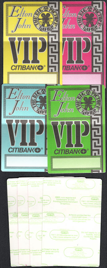 ##MUSICBP0724  - Group of 4 Different Colored Elton John OTTO Cloth VIP Backstage Passes from the 1993 The Big Picture Tour