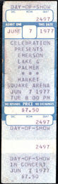"##MUSICBP0221 -  Rare 1977 Emerson Lake & Palmer Ticket from the ""North America"" Tour at Market Square Arena"