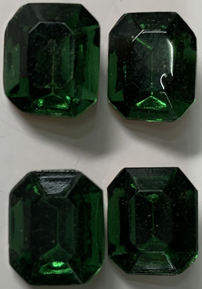 #BEADS0917 - Group of Four 12mm Green Tourmaline Colored Multi-Faceted Glass Rhinestones