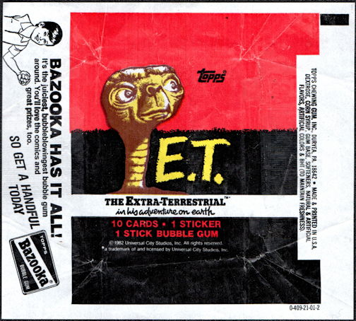 #ZZA267 - Waxed Card Pack Wrapper for E.T. The Extra Terrestrial