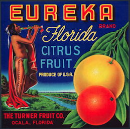 #ZLC418 - Eureka Florida Citrus Label - American Indian with Flute