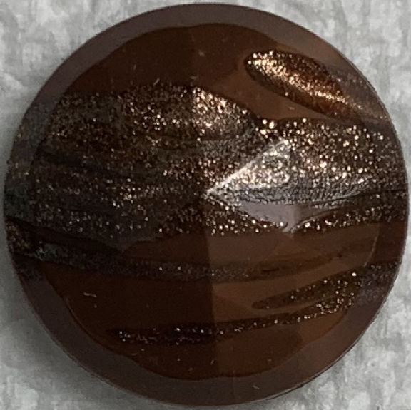 #BEADS0173 - 18mm Fancy Faceted Brownish Glass Cabochon with Goldstone Streaks