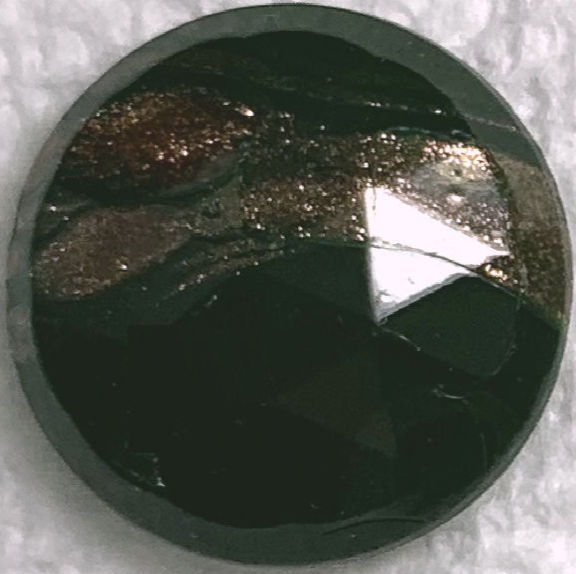 #BEADS0174 - 18mm Fancy Faceted Dark Green Glass Cabochon with Goldstone Streaks