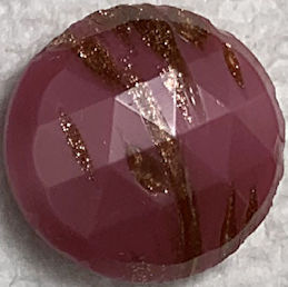 #BEADS0177 - 18mm Fancy Faceted Rose Glass Cabochon with Goldstone Streaks