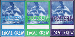 ##MUSICBP0776  - Group of 3 Different Very Rare OTTO Cloth Local Crew Backstage Passes from the Pantera 1994-95 Far Beyond Tour