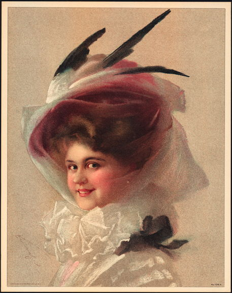 #MS159 - 1910 Victorian Print - Lady in Reddish Hat with Feathers