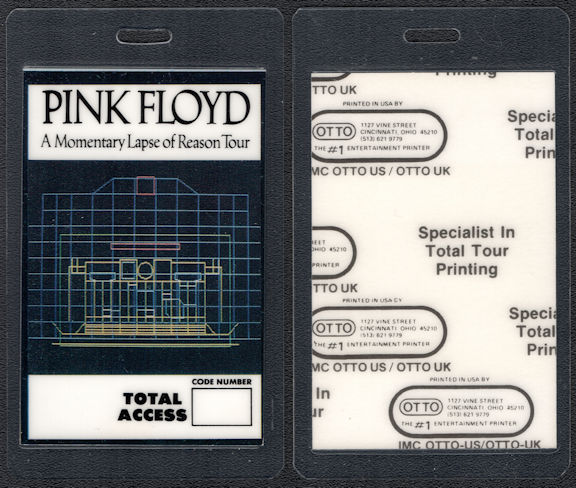 ##MUSICBP0580  - Pink Floyd 1987 Momentary Lapse of Reason Tour OTTO Laminated Backstage Pass
