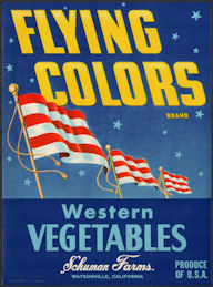 ZLSH210 - Group of 12 Flying Colors Western Vegetables Crate Labels