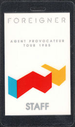 ##MUSICBP0614 - Scarce 1985 Foreigner Laminated OTTO Backstage Pass from the Agent Provocateur Tour