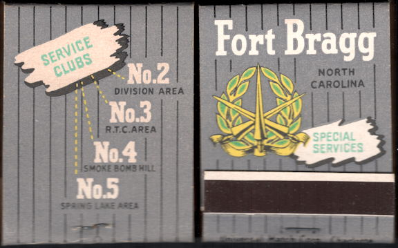 #TM101 - Full Unused Pack Front Cover Striker WWII Era Fort Bragg Army Special Services Matches
