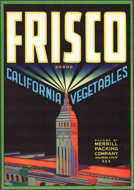 #ZLSH203 - Group of 12 Frisco Vegetable Crate Labels