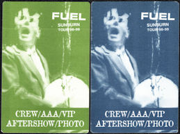 ##MUSICBP0779  - Rare Pair of FUEL OTTO Cloth Backstage Passes from the Sunburn Tour