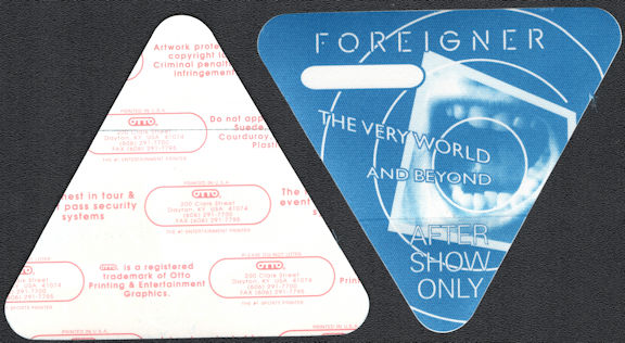 ##MUSICBP0668 - Foreigner OTTO Backstage After Show Pass from 1992 The Very World and Beyond Tour