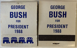 #PL355 - George Bush for President in 1988 Unused Pack of Matches