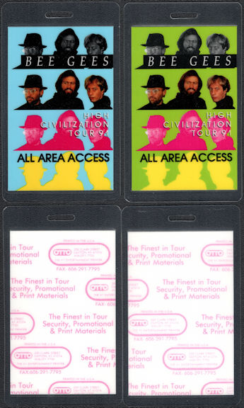 ##MUSICBP0689 - Pair of Two Different Colored Bee Gees OTTO Backstage All Area Access Passes from the 1991 High Civilization Tour
