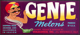 #ZLSH001 - Group of 12 Genie Melon Crate Labels