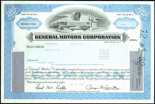 #ZZCE030 - Stock Certificate from General Motors Corporation