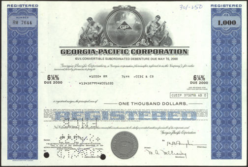 #ZZCE042 - Stock Certificate from the Georgia-Pacific Corporation
