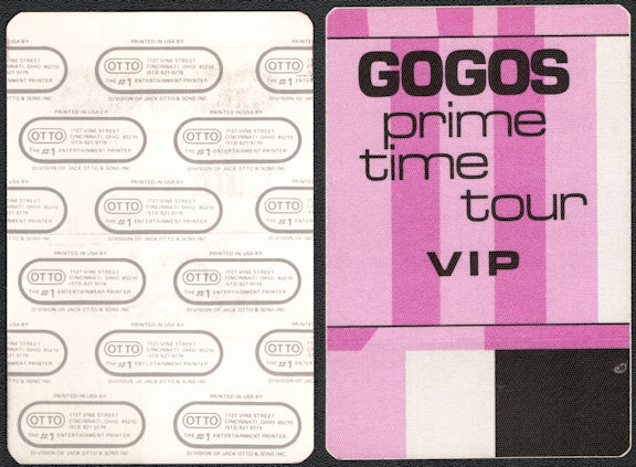 ##MUSICBP0560  - Group of Two Different 1984 GOGOs Prime Time Tour Cloth OTTO Backstage Passes