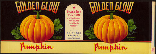 #ZLCA132 - Large Golden Glow Pumpkin Can Label