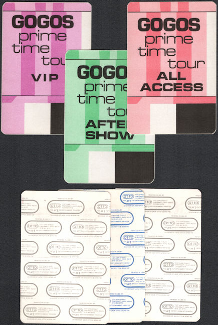 ##MUSICBP0560  - Group of Three Different 1984 GOGOs Prime Time Tour Cloth OTTO Backstage Passes - VIP, All Access, and After Show