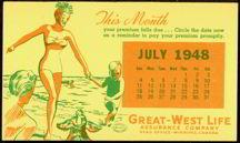 #MS094 - 1948 Great-West Life Calendar Blotter