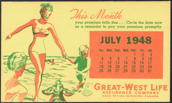 #MS094 - Group of 12 1948 Great-West Life Calendar Blotters