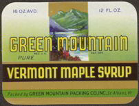 #ZBOT087- Green Mountain Maple Syrup Label - Mountains