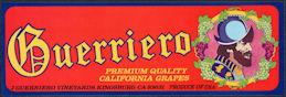 #ZLSG111 - Guerriero California Grapes Crate Label - Kingsburg, CA - Conquistador