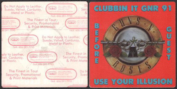 ##MUSICBP0816 - Scarce Guns N' Roses Cloth OTTO Backstage Guest Pass from the 1991 Use Your Illusion Tour