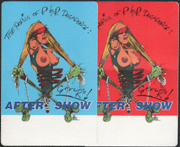 ##MUSICBP0275  - Pair of Two Different Colored Guns N' Roses Cloth OTTO Backstage After Show Passes from the 1993 The Perils of R & R Decadence Tour