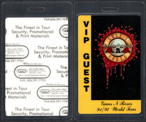 ##MUSICBP0398 - Guns n Roses OTTO Laminated VIP/Guest Backstage Pass from the 1991/92 Use Your Illusion World Tour
