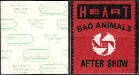 ##MUSICBP0621  - 1987 Heart OTTO Cloth Backstage After Show Pass from the Bad Animals Tour