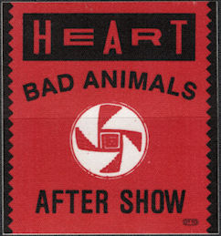 ##MUSICBP0621  - 1987 Round Heart OTTO Cloth Backstage Pass from the Bad Animals Tour - Red Background Version